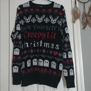 Too fast creepy Christmas ugly sweater